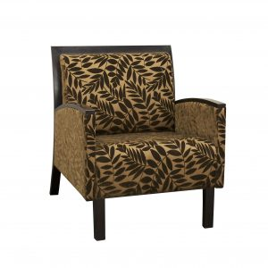 gunlocke club chair espresso wood floral print fabric