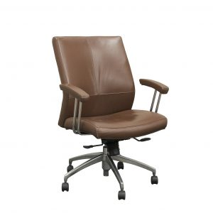 stylex brown leather conference room chair