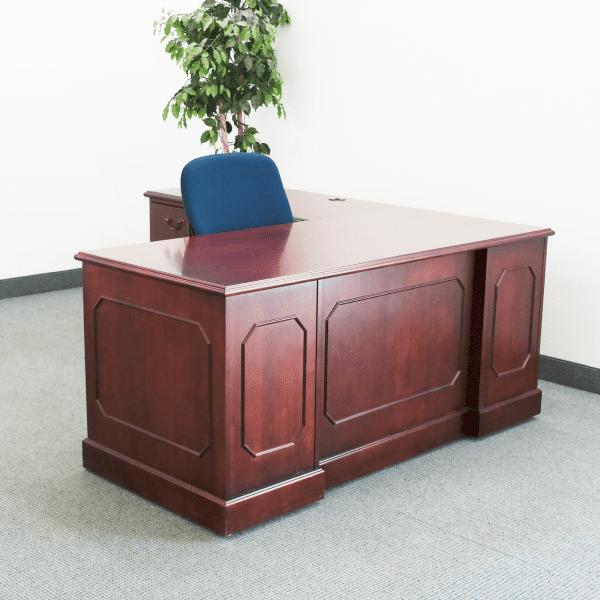 traditional wood l-desk mahogany
