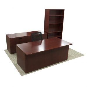 mahogany contemporary office desk suite with credenza and bookcase