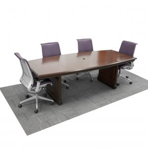 wood traditional conference room table boat-shaped, 8 feet long