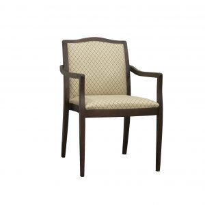 bernhardt cream and gold diamond print fabric dark walnut frame wood side chair