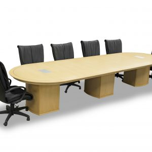 maple conference table, wood, with power ports preowned refurbished
