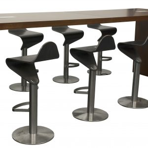 bar height conference room table with power ports and allermuir bar stools