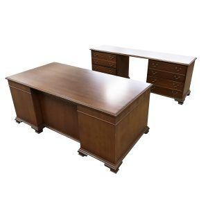 kimball wood desk and credenza set