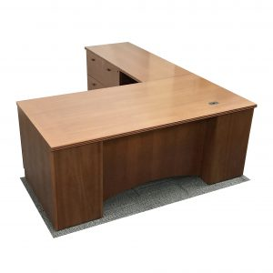 steelcase wood l-desk