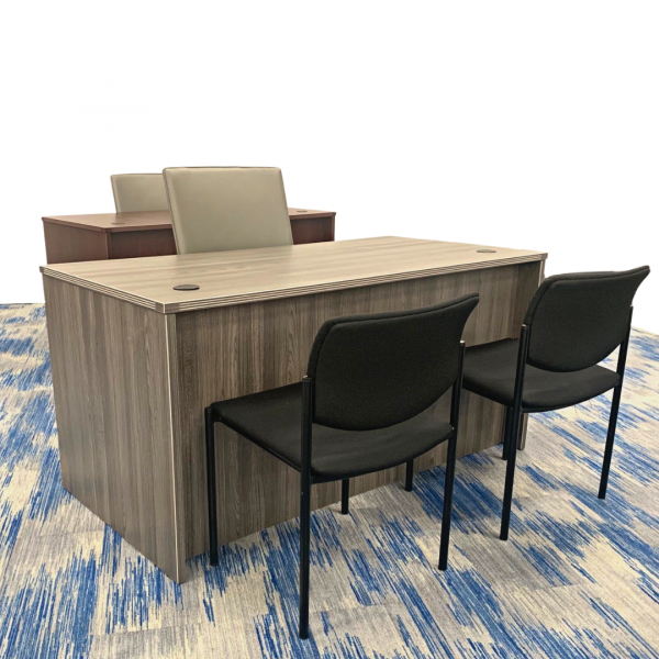 laminate office desks in gray