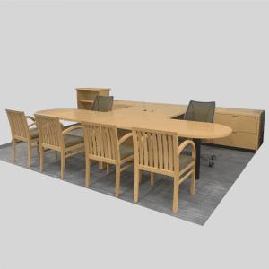Steelcase wood u-station desk